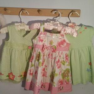 Vintage Set of 3 12 Months Summer Green Pink Dress